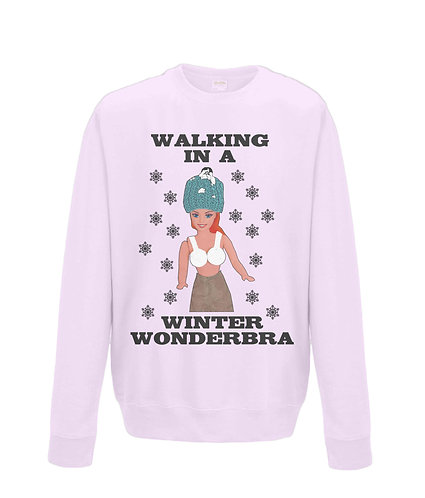 Walking In A Winter Wonderbra, Rude, Funny Xmas Jumper! (black font)