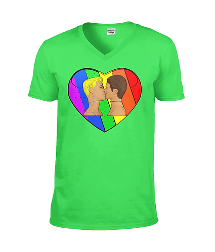 Gay Kiss Rainbow Loveheart! Gay V Neck TShirt