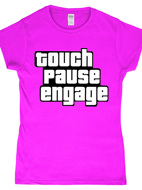 Touch Pause Engage! Funny, Ladies Rugby T-Shirt