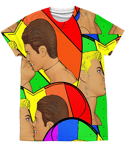 Gay Kiss, LGBT, Pop Art Sublimation Unisex T-Shirt
