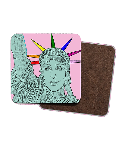 4 x Gay Drinks Coasters! Cher as the Statue of Liberty!