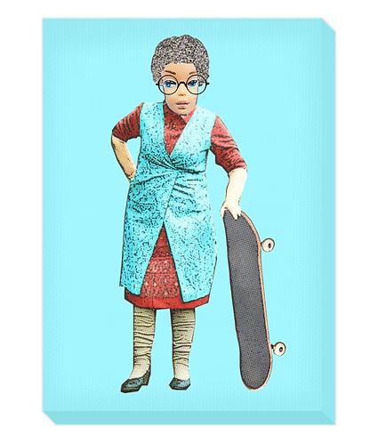 Skateboarding Granny Canvas