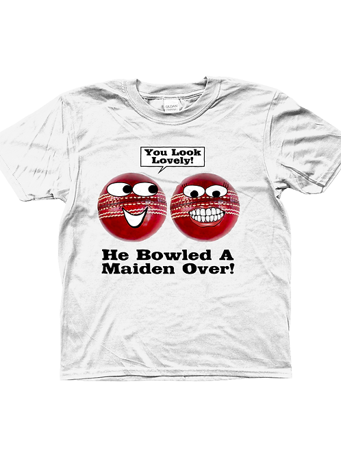 He Bowled A Maiden Over! Funny, Kids Cricket T-Shirt