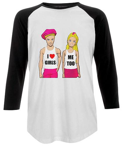 I Love Girls, Me Too! Funny Lesbian Baseball Shirt