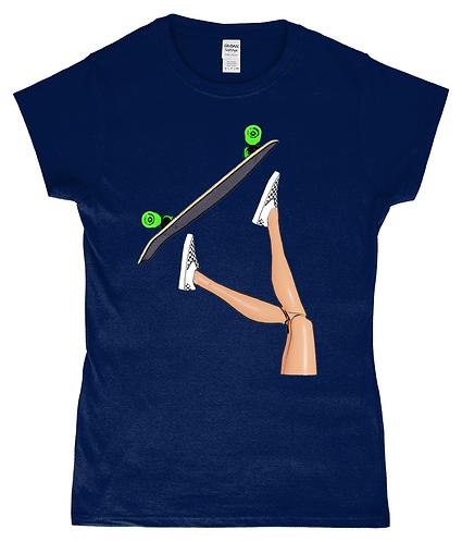 Skateboarding Girl! Funny, Ladies T-Shirt