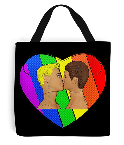 Love & Pride, Gay Kiss Tote Bag