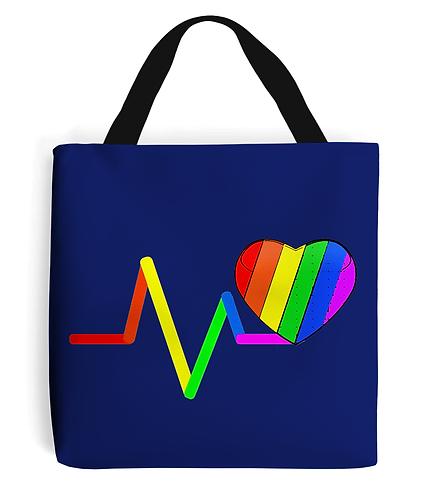 Pulse, Rainbow Heart, LGBT, Tote Bag