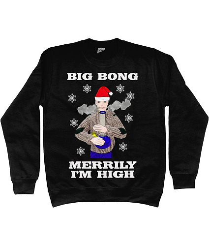Big Bong, Merrily I'm High! Funny Xmas Jumper!
