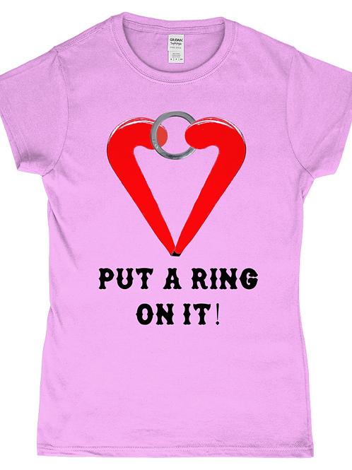 Put A Ring On It! Funny, Ladies Field Hockey T-Shirt