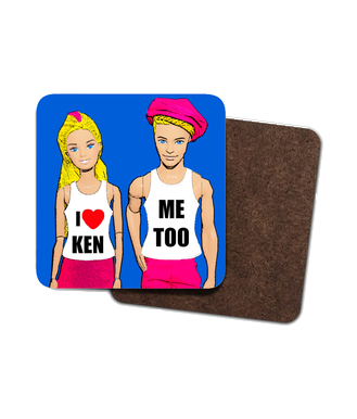 4 x Funny, Gay Drinks Coasters! I Love Ken (Me Too)!