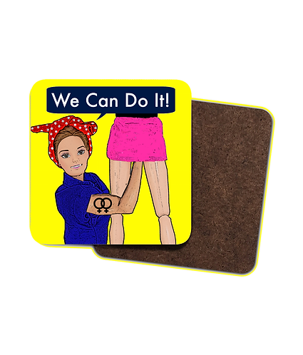 4 x Rude, Lesbian Drinks Coasters, We Can Do It!