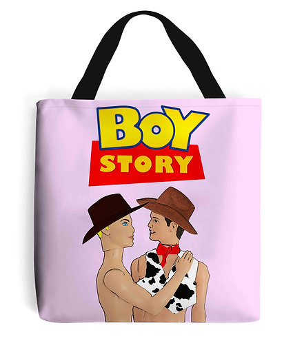Boy Story, Funny, Gay, Tote Bag