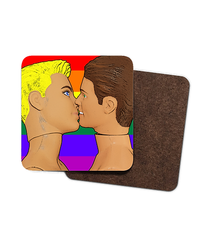 4 x Gay Drinks Coasters, Gay Kiss with Rainbow Flag Background