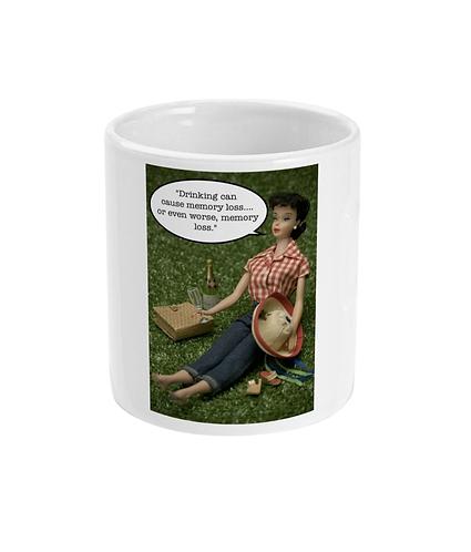 Funny, Drinking Meme Mug! Drinking can cause memory loss!
