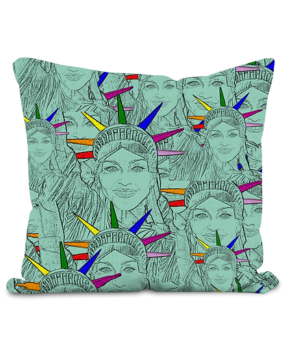 Madonna Morphed Into The Statue of Liberty Throw Cushion Cover