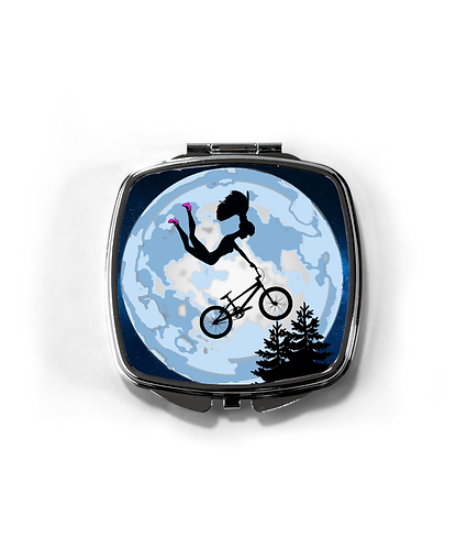 Doll Riding a BMX ET Style, Compact Mirror