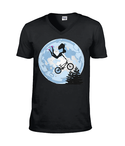 Doll Riding a BMX ET Style! Funny V Neck TShirt