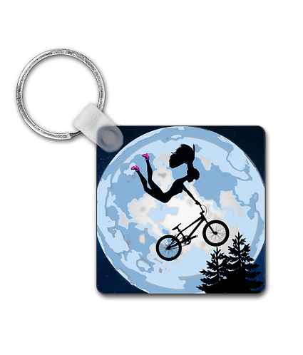 Doll Riding a BMX, ET Style Keyring