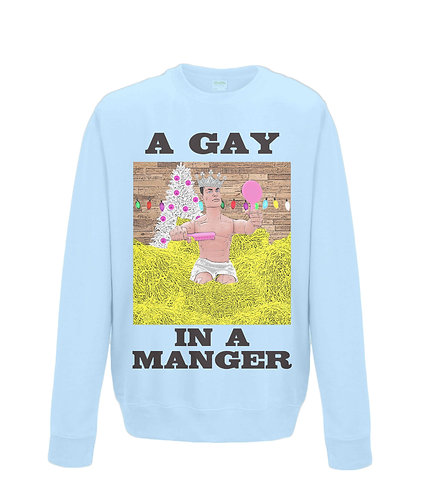 A Gay In A Manger, Funny, Gay, Christmas Jumper! (black font)