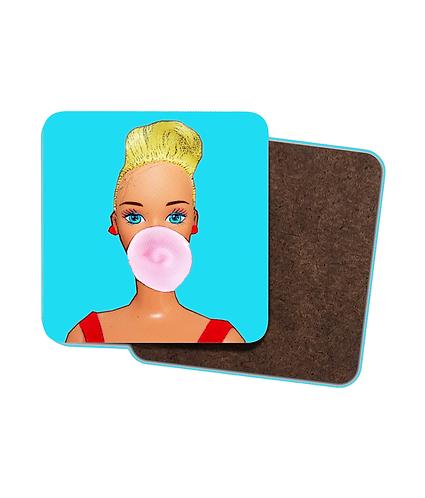 4 x Bubblegum Babe Pop Art Drinks Coasters, Vintage Style.