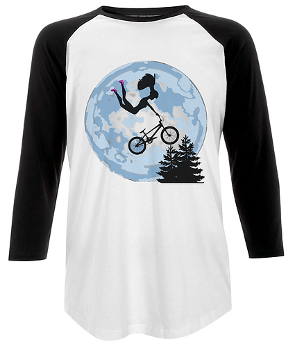 Doll Riding A BMX, ET Style, Baseball Shirt