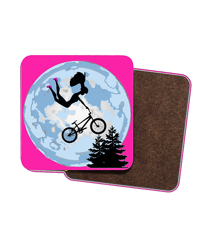 4 x Cool Drinks Coasters, Doll Riding a BMX, ET Style!