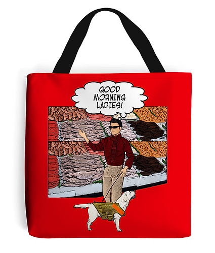 Blind Man at a Fish Stall, Rude Tote Bag