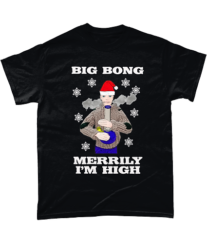 Big Bong, Merrily I'm High! Funny, Xmas T-Shirt
