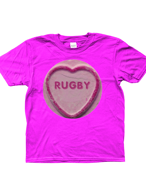 Rugby Loveheart! Funny, Kids Rugby T-Shirt