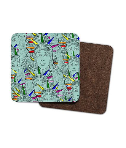 4 x Gay Drinks Coasters! Cher morphed into the Statue of Liberty