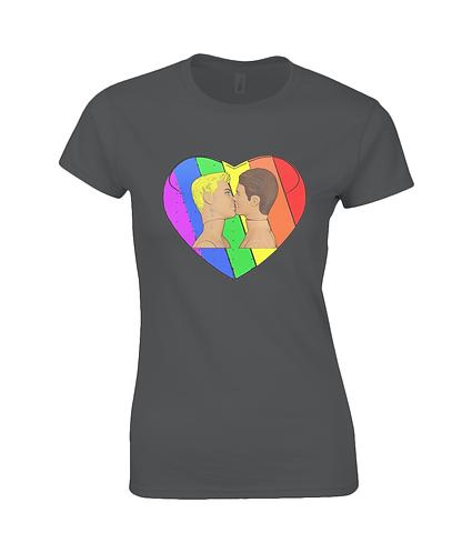 Love & Pride, Gay Kiss Ladies T-Shirt