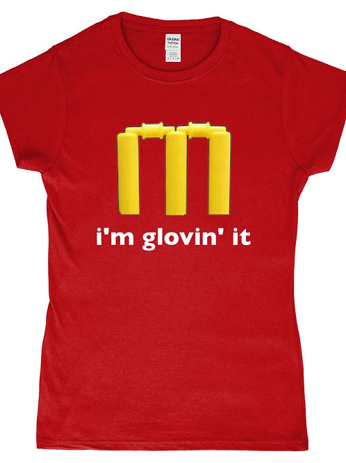 I'm Glovin It! Funny, Ladies Cricket T-Shirt
