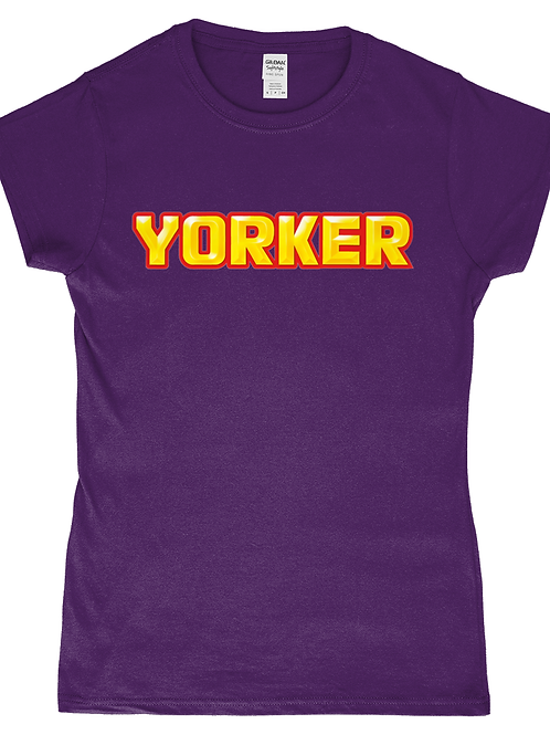 Yorker! Funny, Ladies Cricket T-Shirt