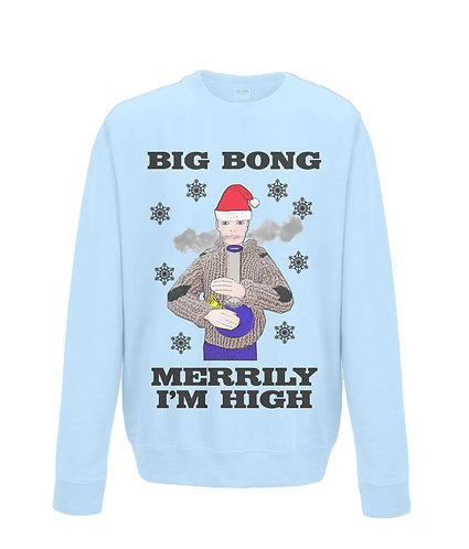 Big Bong, Merrily I'm High! Funny Xmas Jumper! (black font)