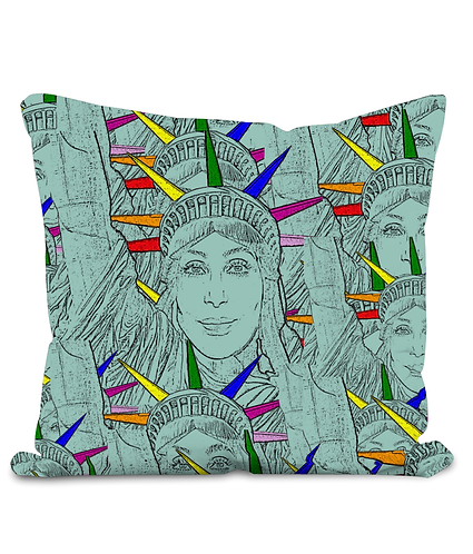 Gay Throw Cushion Cover! Cher morphed into The Statue of Liberty!