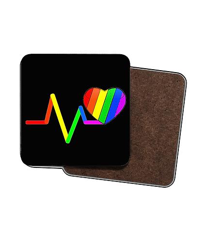 4 x LGBTQ Drinks Coasters! Pulse Rainbow Heart!