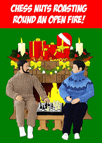 Chess Nuts Roasting By An Open Fire, Funny, Christmas Card
