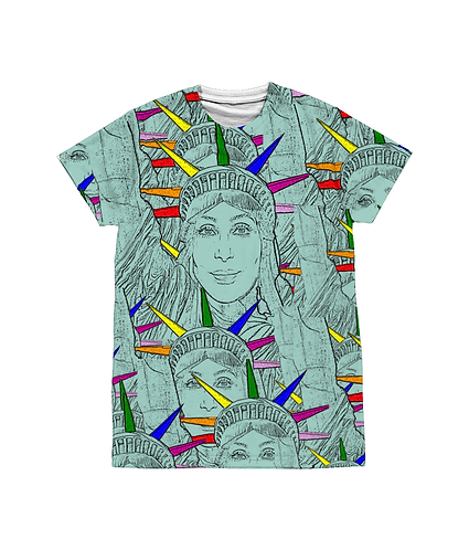 LGBT, Pop Art Sublimation Unisex T, Cher morphed into The Statue of Liberty!