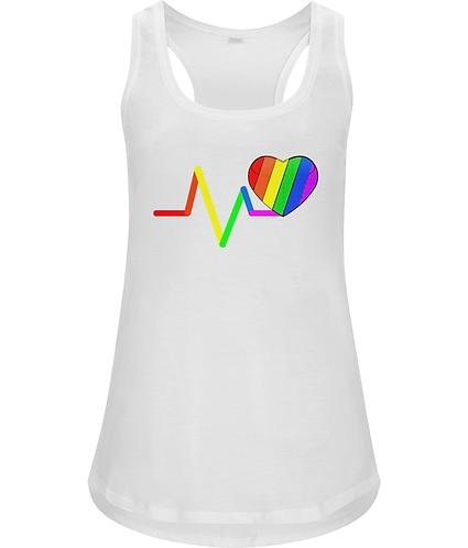 Pulse, Rainbow Loveheart, LGBT, Ladies Racerback Vest