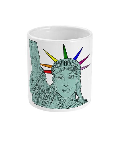 Funny, Gay Mug! Cher as The Statue of Liberty!
