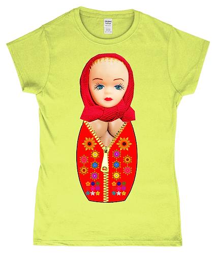 Matryoshka With Big Boobs, Funny Ladies T-Shirt