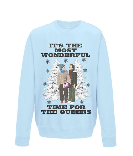 It's The Most Wonderful Time For The Queers! Funny, Gay, Xmas Jumper, black font