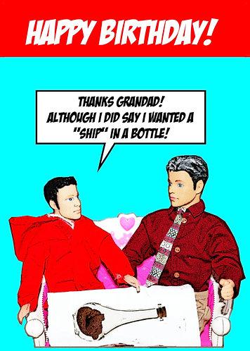 Rude, Funny Ship In A Bottle Happy Birthday Card (Grandad/Grandson)