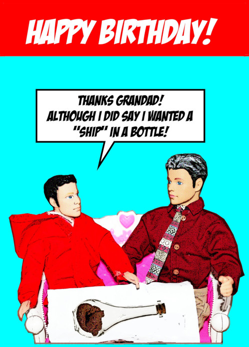 Rude Funny Ship In A Bottle Happy Birthday Card Grandadgrandson
