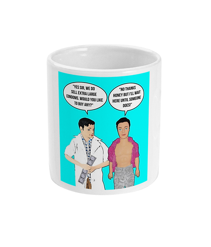 Rude, Funny, Hilarious Gay Mug! Would You Like Any Extra Large Condoms?