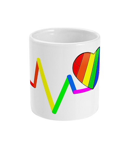 Cool, Gay Mug! Pulse Rainbow Loveheart!
