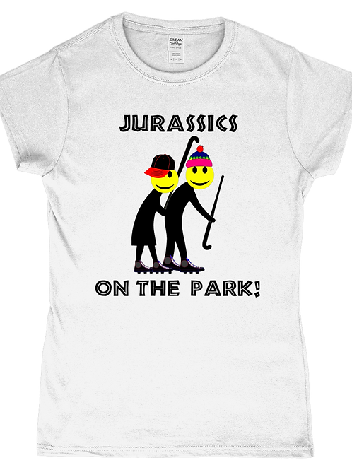 Jurassics on The Park! Funny, Ladies Vets Field Hockey T-Shirt