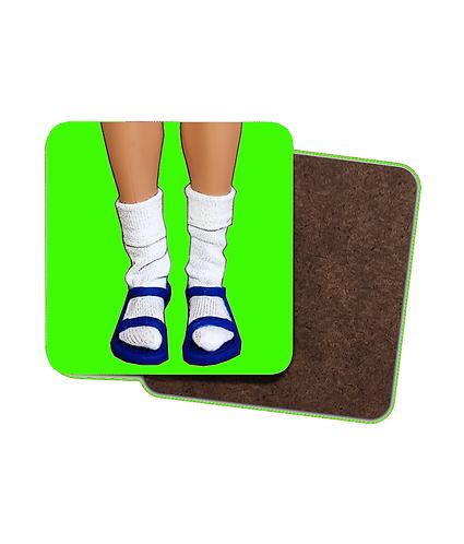 4 x Funny, Socks & Sandals Drinks Coasters!