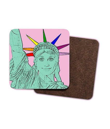 4 x Gay Drinks Coasters! Dolly Parton as the Statue of Liberty!
