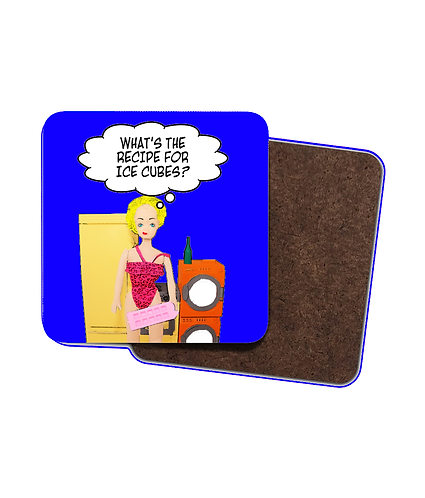4 x Funny, Drinks Coasters! What's The Recipe For Ice Cubes?